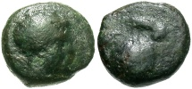 Ancient Coins - Sicily, Motya. Ca. 409-397 B.C. Æ onkia. Near Fine, dark green patina.