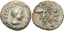 Ancient Coins - Indo-Greek Kingdom. Menander I. Ca. 165/55-130 B.C. AR drachm. VF, light porosity on reverse.