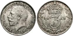 World Coins - Great Britain. George V. 1919. 3 pence. Unc.