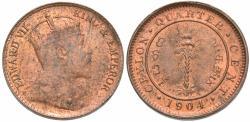 World Coins - Ceylon. Edward VII. 1904. 1/4 cent. Unc.