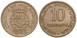 World Coins - Mozambique. 1942. 10 centavos. EF.