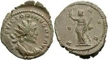 Ancient Coins - Victorinus. Romano-Gallic Emperor, A.D. 269-271. Æ double denarius. Treveri, A.D. 270. Nice VF, brown patina.