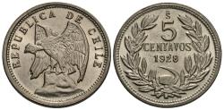 World Coins - Chile. 1928. 5 centavos. Choice BU.