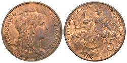 World Coins - France, Third Republic. 1913. 5 centimes. Choice AU.