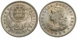 World Coins - St. Thomas & Prince Island. 1929. 20 centavos. Gem BU, beautiful light iridescent toning.