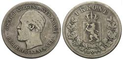 World Coins - Norway. Oscar II. 1877. 1 krone. Fine.