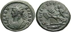 Ancient Coins - Probus. A.D. 276-282. Æ aurelianianus. Rome, A.D. 281. VF, dark green patina.