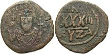Ancient Coins - Phocas. 602-610. Æ follis. Cyzicus. VF, brown patina.