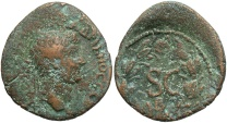 Ancient Coins - Syria, Seleucis and Pieria. Antiochia ad Orontem. Hadrian. A.D. 117-138. Æ semis. Good Fine, rough brown patina.