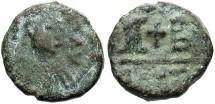 Ancient Coins - Justin I. 518-527. Æ 12 nummi. Alexandria. Good Fine, blue-green patina.