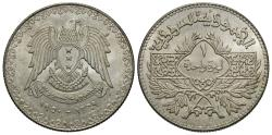 World Coins - Syria. AH 1369 (1950). 1 lira. BU, strong luster. One-year type.
