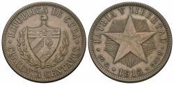 World Coins - Cuba. 1915. 40 centavos. EF, toned.
