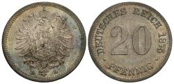 World Coins - Germany, Empire. Wilhelm I. 1875-D. 20 pfennig. Choice Unc., toned.
