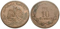 World Coins - Mexico (Revolutionary), Atlixtac. 1915. 10 centavos. Unc., typical weak strike in areas.