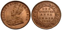 World Coins - British India. George V. 1936-(c). 1/4 anna. Choice BU.