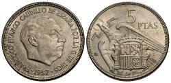 World Coins - Spain. 1957 (63). 5 pesetas. EF.