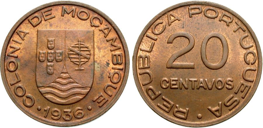 World Coins - Mozambique. 1936. 20 centavos. AU, one-year type. Very scarce with mint red.