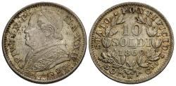 World Coins - Papal States. Pius IX. 1869/An XXIV-R. 10 soldi. Unc., light toning and excellent luster.