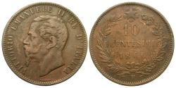 World Coins - Italy. Vittorio Emanuele II. 1866-H. 10 centesimi. About VF.