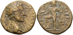 Ancient Coins - Phoenicia, Berytus. Commodus. A.D. 177-192. Æ. VF, small pit on obverse, cleaned.