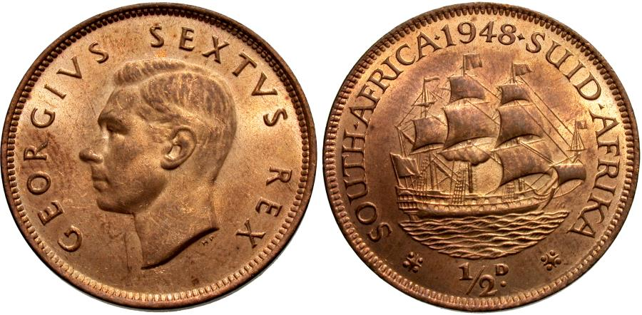 World Coins - South Africa. George VI. 1948. 1/2 penny. BU.