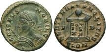 Ancient Coins - Crispus. Caesar, A.D. 317-326. Æ follis. London, A.D. 322/3. Nearly VF, earthen green patina, light cleaning marks.