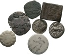 Ancient Coins - [Indian] Lot of seven miscellaneous coins, mostly Indian. Average Fair to VF.