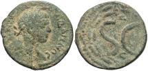 Ancient Coins - Syria, Seleucis and Pieria. Antiochia ad Orontem. Elagabalus. A.D. 218-222. Æ semis. Fine, green patina.