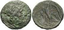 Ancient Coins - Bruttium, The Bretti. 214-211 B.C. Æ. VF, green patina, obverse pitted.
