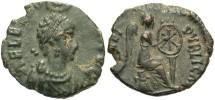 Ancient Coins - Aelia Eudoxia. Augusta, A.D. 400-404. Æ. VF, dark green-black patina, planchet flaw.