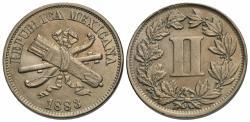World Coins - Mexico, Second Republic. 1883. 2 centavos. Unc.