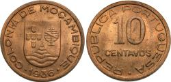 World Coins - Mozambique. 1936. 10 centavos. Unc, once-year type. Very scarce with mint red.