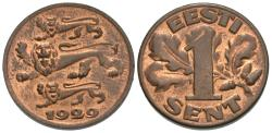World Coins - Estonia. 1929. 1 sent. Unc., red and brown.