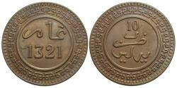 World Coins - Morocco. 'Abd al-Aziz. AH 1321 (1903)-Bi. 10 mazunas. EF.