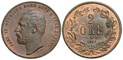 World Coins - Sweden. Carl XV. 1861. 2 ore. Unc.