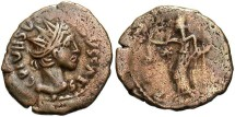 Ancient Coins - Barbarous radiate. Ca. late 3rd century A.D. Æ double denarius. Imitating a Gallo-Roman issue of Tetricus II. Nice VF, brown surfaces.