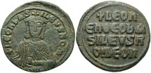 Ancient Coins - Leo VI, the Wise. 886-912. Æ follis. Constantinople. VF, green patina.