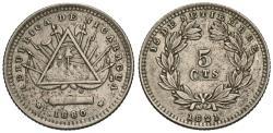 World Coins - Nicaragua. 1880-H. 5 centavos. EF.