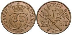 World Coins - Danish West Indies. Christian IX. 1905-(h). 1/2 cent. AU.