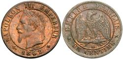 World Coins - France, Second Empire. Napoleon III. 1862-BB. 1 centime. Unc., red and brown.