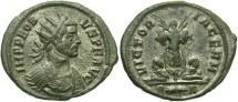 Ancient Coins - Probus. A.D. 276-282. Æ aurelianianus. Rome, A.D. 277-278. VF, green patina, porous, some silvering present.