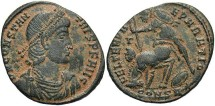 Ancient Coins - Constantius II. A.D. 337-361. Æ centenionalis. Constantinople, A.D. 350-355. VF, dark brown patina with earthen deposits.