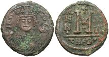 Ancient Coins - Maurice Tiberius. 582-602. Æ follis. Antioch. Near VF, brown patina with earthen deposits.