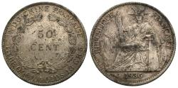 World Coins - French Indo-China. 1936-(a). 50 cents. EF, toned.