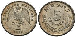 World Coins - Mexico, Second Republic. 1903-Mo. 5 centavos. Choice BU.