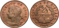 World Coins - Chile. 1907. 2 1/2 centavos. AU.