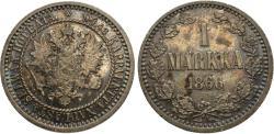 World Coins - Finland, under Russia. 1866. 1 markka. AU, toned.
