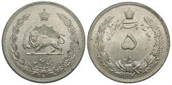 World Coins - Iran, Pahlavi Dynasty. Reza Shah. SH 1312. 5 rials. Gem BU, cartwheel luster.