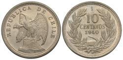 World Coins - Chile. 1940. 10 centavos. Gem Unc., tiny die-breaks.
