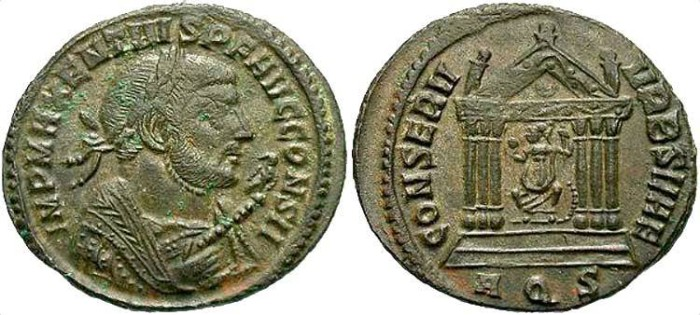Ancient Coins - Maxentius. A.D. 306-312. Æ follis. Aquileia, Cos. II (A.D. 309). Good VF, brown patina, minor striking weakness on obverse. Rare consular dated issue.